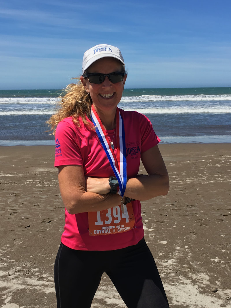 Heidi at the finish of the Dipsea Race